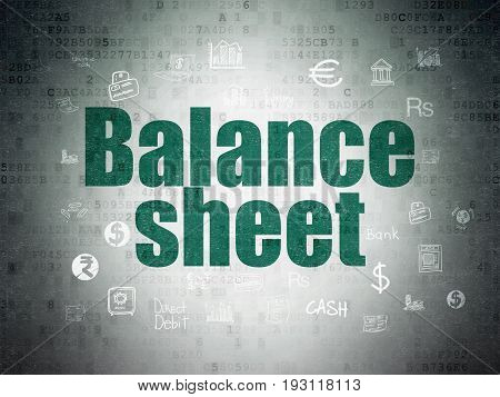 Banking concept: Painted green text Balance Sheet on Digital Data Paper background with  Hand Drawn Finance Icons