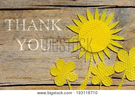 Beeswax, Sunflowers On Wooden Table, Thank You