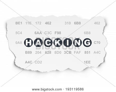 Protection concept: Painted black text Hacking on Torn Paper background with  Hexadecimal Code