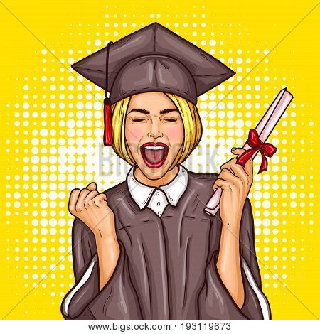 pop art illustration of an excited young girl graduate student in a graduation cap and mantle with a university diploma in her hand. The concept of celebrating the graduation ceremony