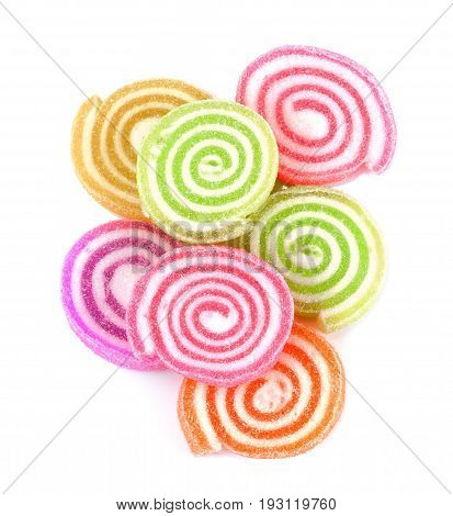 Jelly sweetcandy dessert colorful on sugaro isolated on white background