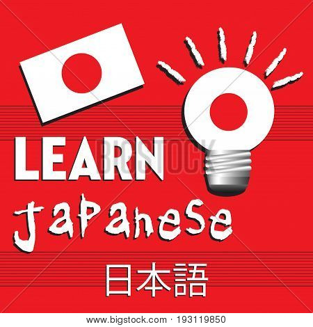 Colorful illustration with the flag of Japan and the text learn Japanese written with white letters