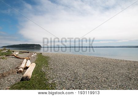 Driftwood on the shore of Shine Tidelands State Park on Bywater Bay near Port Ludlow in the Puget Sound in the Pacific northwest in Washington State USA