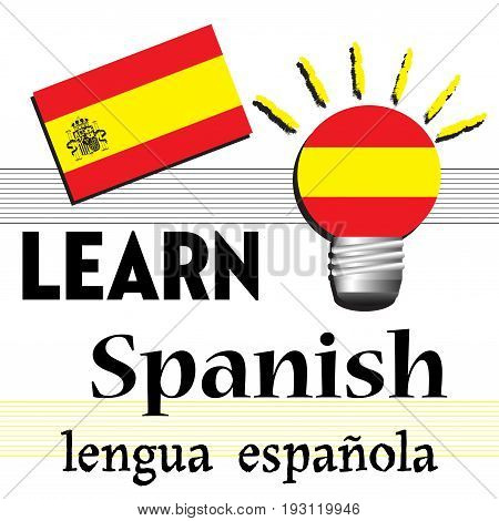 Colorful illustration with the Spanish flag and the text learn Spanish written with black letters