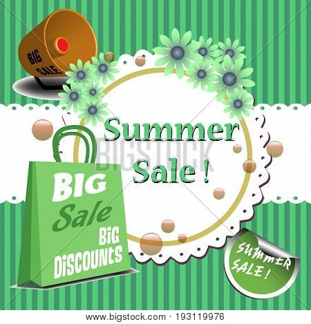 Abstract colorful background with megaphone, flowers, shopping bag and the text summer sale written with green letters