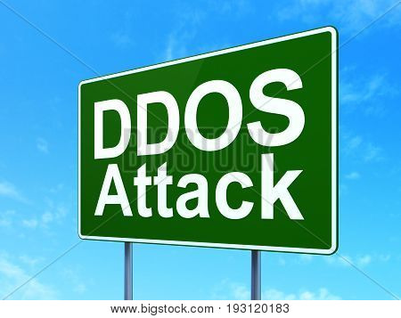 Protection concept: DDOS Attack on green road highway sign, clear blue sky background, 3D rendering