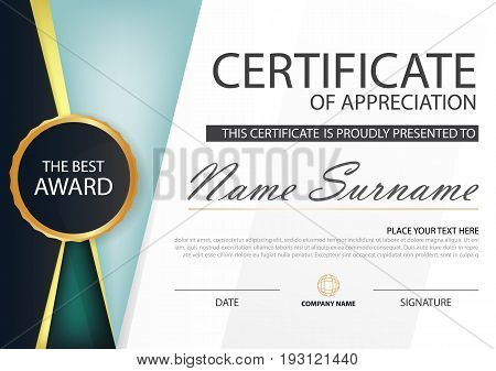 Green blue Elegance horizontal certificate with Vector illustration white frame certificate template with clean and modern pattern presentation
