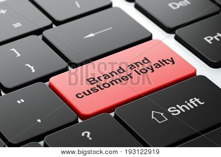 Finance concept: computer keyboard with word Brand and Customer loyalty, selected focus on enter button background, 3D rendering