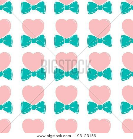 Fashion hipster cute seamless pattern with pink heart with bow tie. Retro fashion vintage background