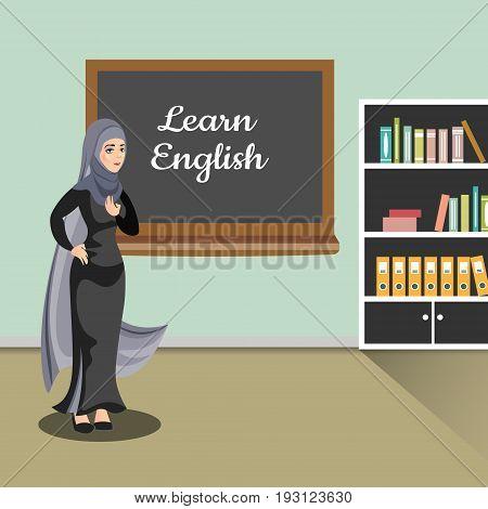 Muslim teacher in classroom. Vector illustration of flat design people characters.