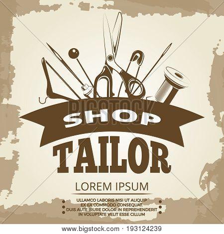 Vintage tailor shop label design. Fashion tailoring banner. Vector illustration