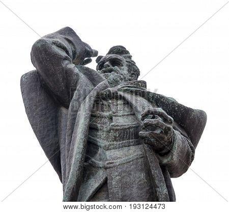 NOVI SAD, SERBIA - APRIL 17 the statue Svetozar Miletic in main square of Novi Sad Photographed the in Novi Sad, Serbia on April 17, 2016