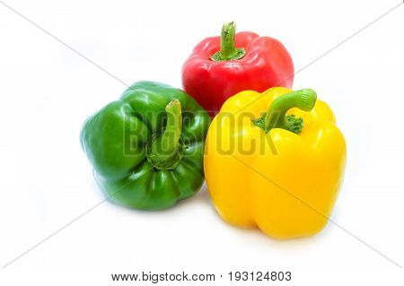 Colors Of Paprika Or Bell Peppers, Isolated On A White Background