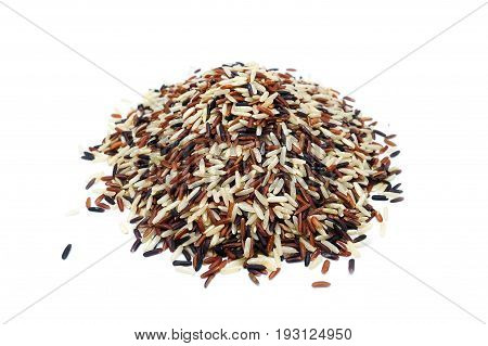 Jasmine Rice, Brown Rice, Black Rice, Mixed Rice And Riceberry, Isolated On A White Background