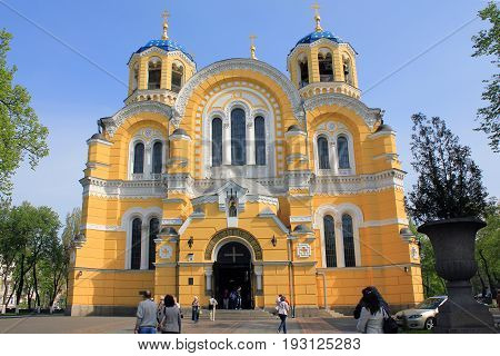 KIEV, UKRAINE - MAY 2, 2011: The Vladimir Cathedral is a monument of neo-Byzantine architecture the main temple of the Ukrainian Orthodox Church of the Kiev Patriarchate.
