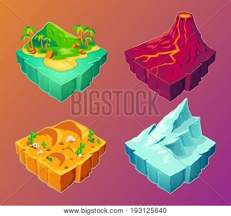 3D isometric illustration tropical island, volcanic island, desert, ice island, design elements for games