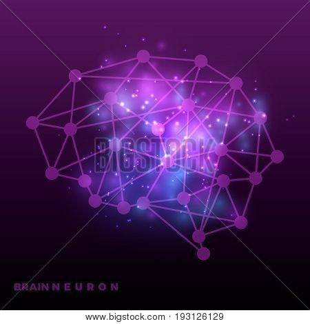 Abstract brain neural network and universe bakground. Brain net neural, vector illustration