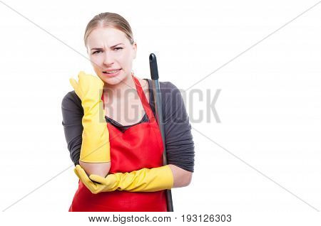 Housemaid In Unifrom Having Elbow Pain