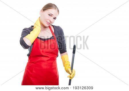 Beautiful Housekeeper With Mop Or Broom