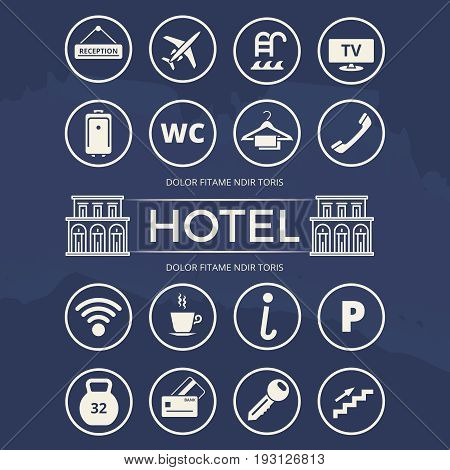 Hotel icons set and building - vector bundle for hotel. Vector illustration