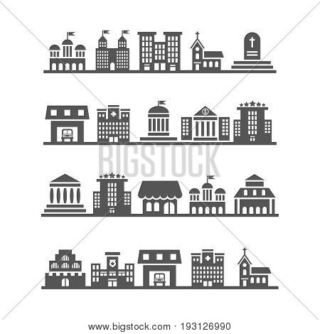 Modern urban city landscapes on white background. Architecture urban white and black, vector illustration