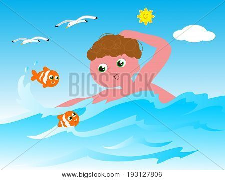 Boy swimming in the sea with orange clown fishes cartoon vector illustration