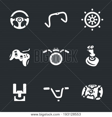 Car steering wheel, bicycle handlebar, steering wheel, gamepad, motorcycle steering wheel, joystick, cockpit, racing wheel.