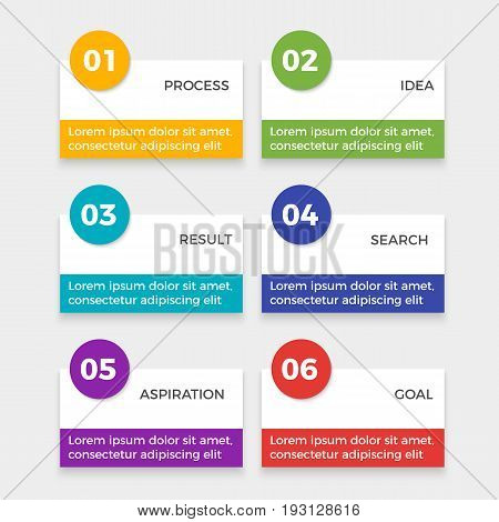 Infographic elements with steps process, idea and result, search and aspiration, achieving goal at finish. Vector illustration of stages to success