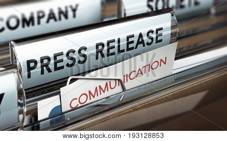 3D illustration of a press release file. Concept of business communication.