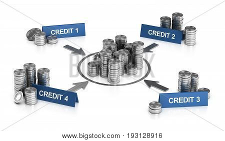 3D illustration of credit consolidation principle over white background.