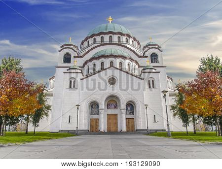 The Saint Sava christian catedral with blue cloudy sky in the capital Belgrade