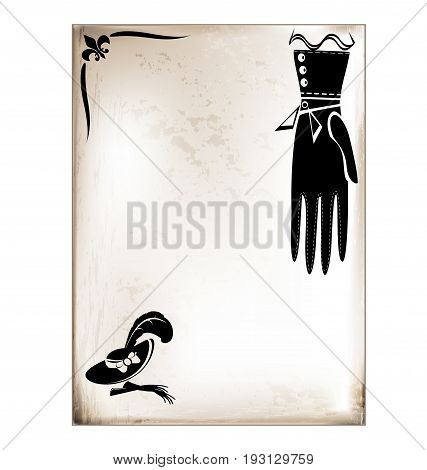 white background, vintage beige-colored card with retro stylized ladys glove and hat