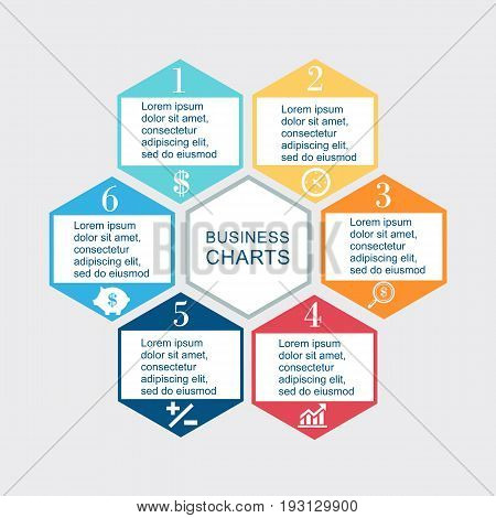 Vector illustration infographics seven hexagons. Stock vector