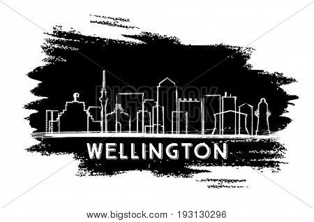 Wellington Skyline Silhouette. Hand Drawn Sketch. Business Travel and Tourism Concept with Modern Architecture. Image for Presentation Banner Placard and Web Site.