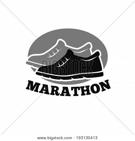 Vector illustration of pair of shoes and marathon word logo.