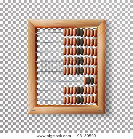 Abacus Set Vector. Classic Wooden Old Abacus. Arithmetic Tool Equipment. Isolated On Transparent