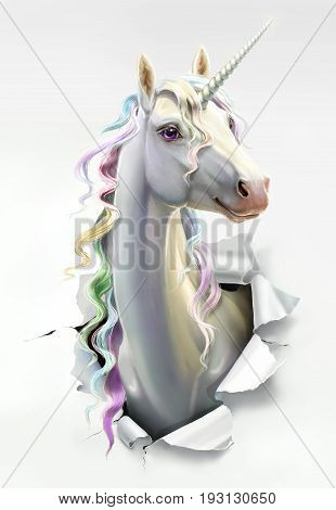 White unicorn with mane breaks through the paper, close-up