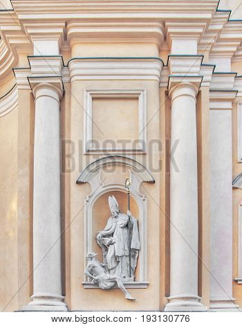 St Martin's Church architectural details in Warsaw Old Town Poland