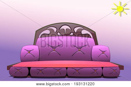 The image of upholstered furniture is a sofa with buttons and a wooden back with a pattern. Against the background, the sun is depicted.