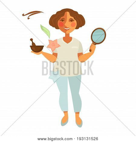 Vector illustration of beautician woman standing with mirror and mortar.