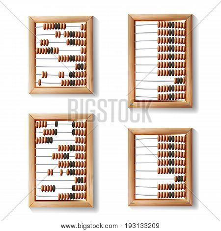 Abacus Set Vector. Realistic Illustration Of Classic Wooden Old Abacus.