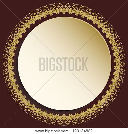 Round vector golden frame with floral elements and arabesques. Pattern with arabesques. Fine greeting card