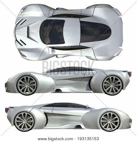 A set of three types of racing concept car in gray. Side view and top view. 3d illustration