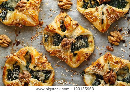 Puff pastry stuffed with spinach and Gorgonzola cheese, top view