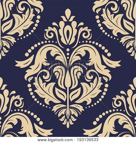 Orient vector classic navy blue and golden pattern. Seamless abstract background with repeating elements. Orient background