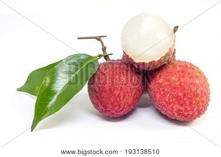 Fresh Fruit Lychee On White Background