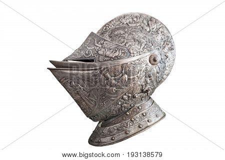 The helmet of medieval al knight. XIX century.