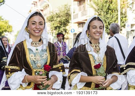 SELARGIUS, ITALY - SEPTEMBER 13, 2015: Ancient celibacy selargino - parade of the folk group Ruggeri di Pirri - Sardinia