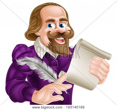 Cartoon of William Shakespeare holding a feather quill and paper scroll