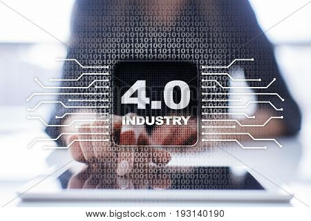 Industry 4.0 IOT Internet of things. Smart manufacturing concept. Industrial 4.0 process infrastructure